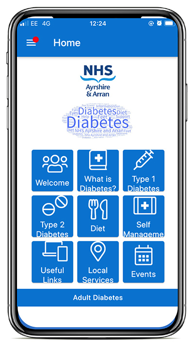 Search your App store for NHS Ayrshire and Arran, download and install the app, and then select Adult Diabetes App.
